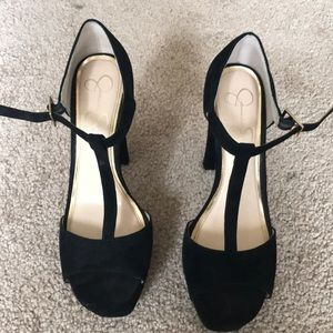 Black open toed pumps